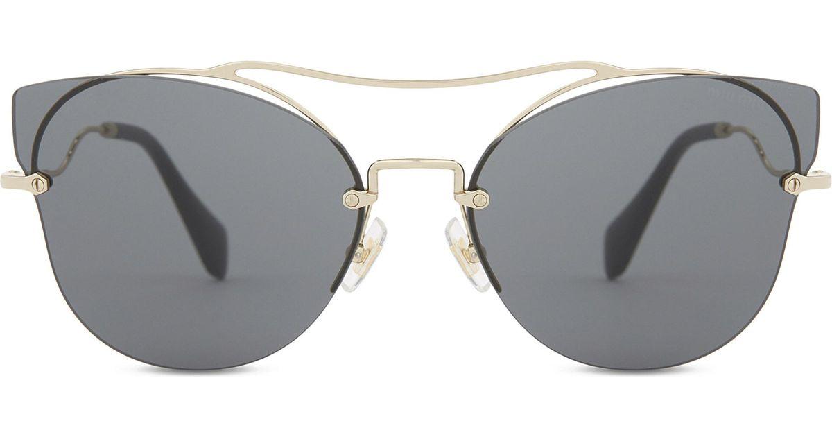 96b0376b120f Lyst - Miu Miu Mu52ss Butterfly Frame Half-rim Sunglasses in Metallic