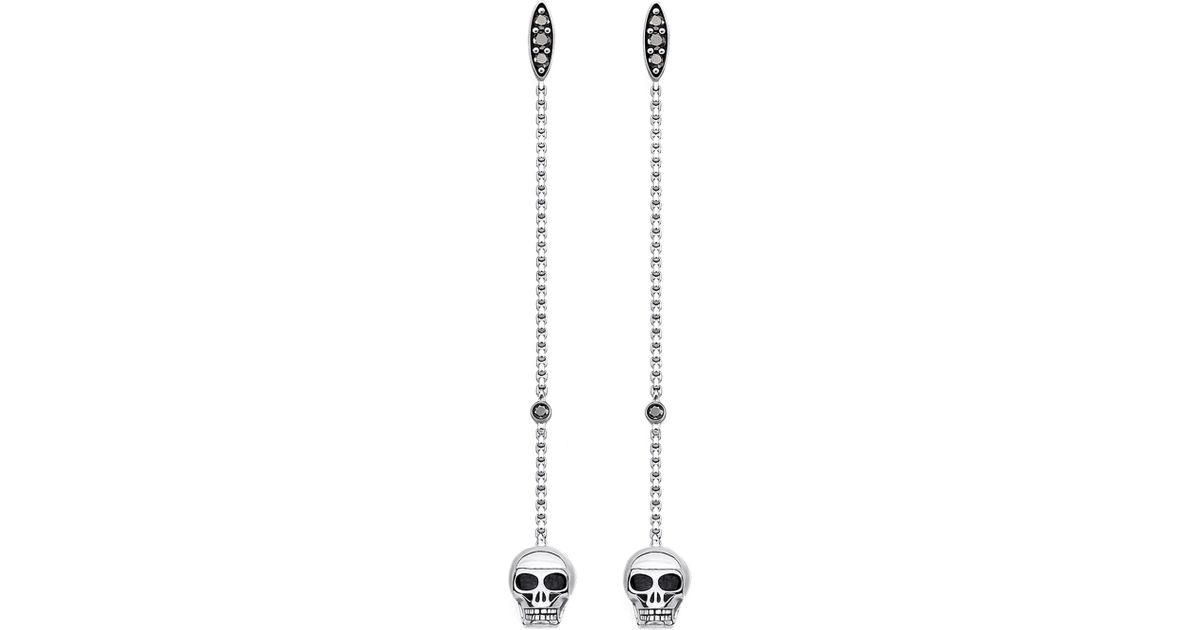 fabb232b1 Thomas Sabo Rebel At Heart Sterling Silver Skull Earrings in Metallic - Lyst