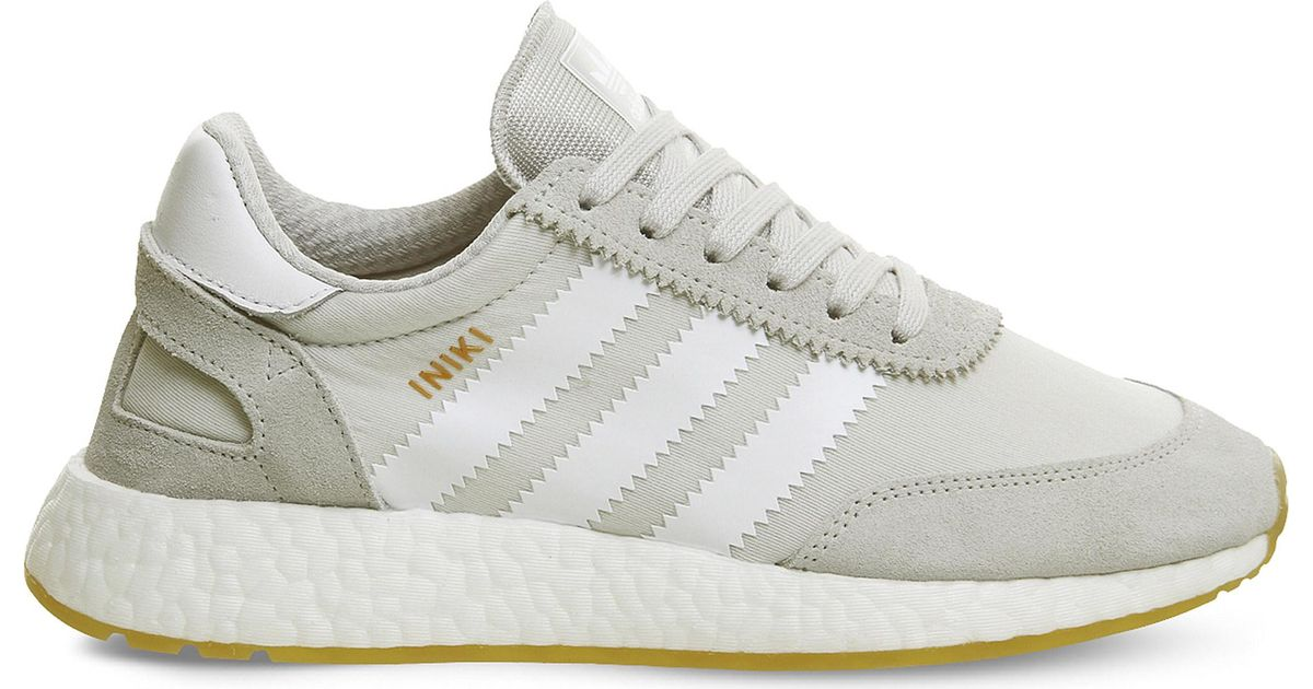Lyst - adidas Originals Iniki Suede And Mesh Trainers in Gray 90950cc2f