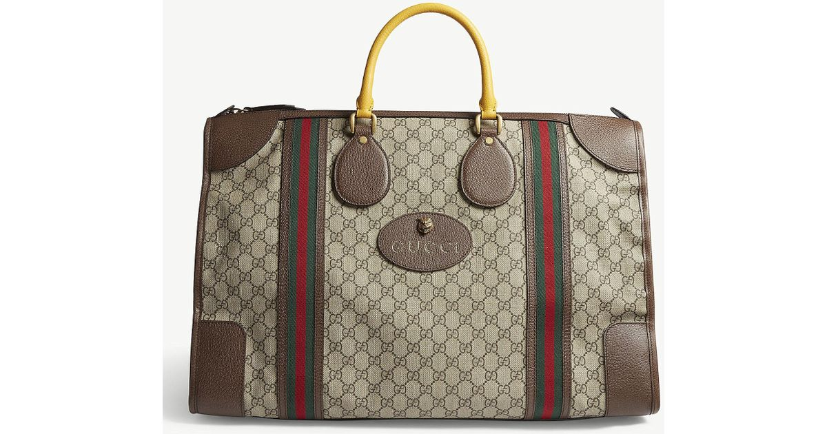 32804dac5 Lyst - Gucci Brown Stripe Vintage GG Supreme Canvas Duffle Bag in Brown for  Men