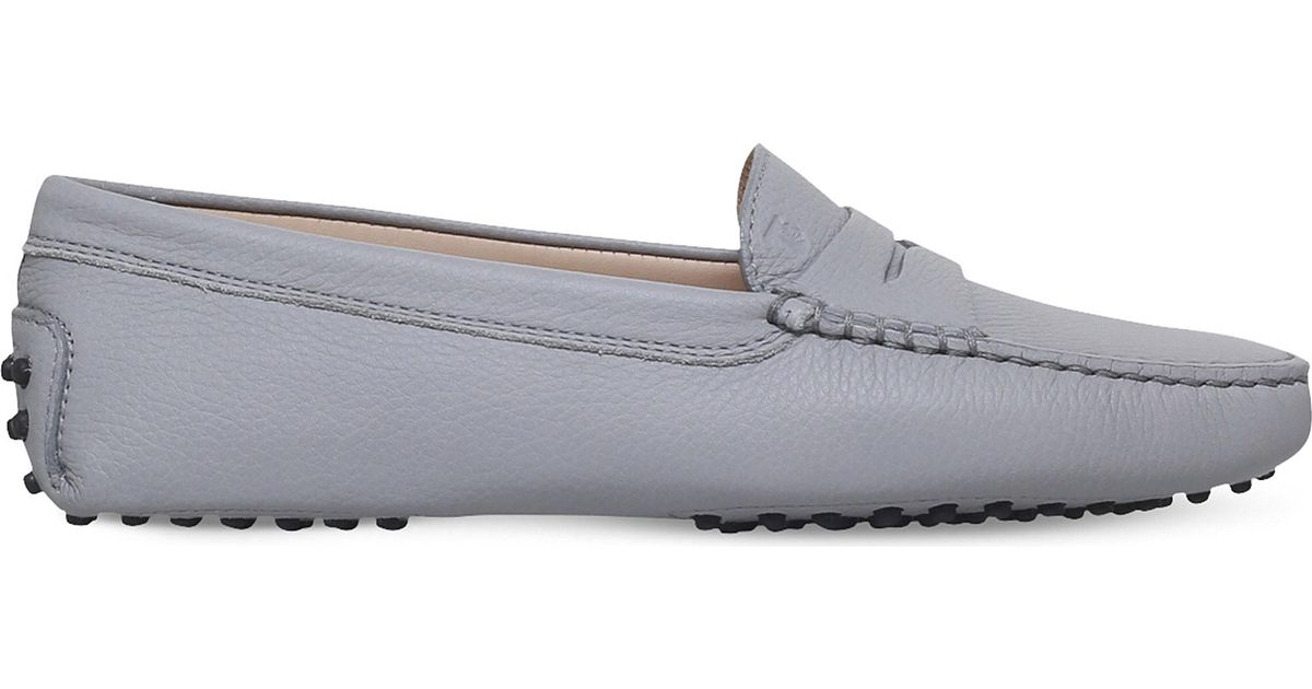 7590ca15738 Tod S Mocassino Leather Loafers in Gray - Lyst
