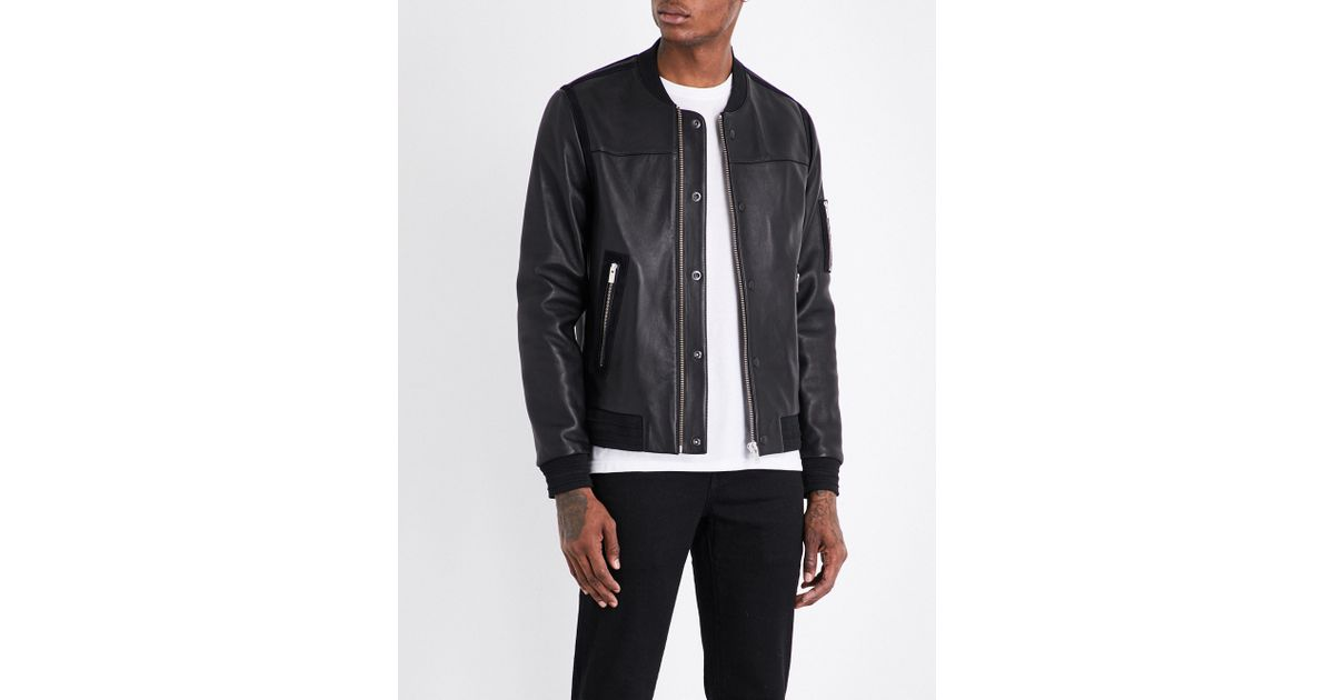 9ef45b5c88 The Kooples Sport Teddy-collar Leather Bomber Jacket in Black for Men - Lyst