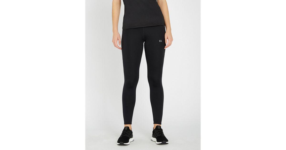 7cc36df710eea6 Calvin Klein Performance 7/8 Stretch-jersey leggings in Black - Lyst