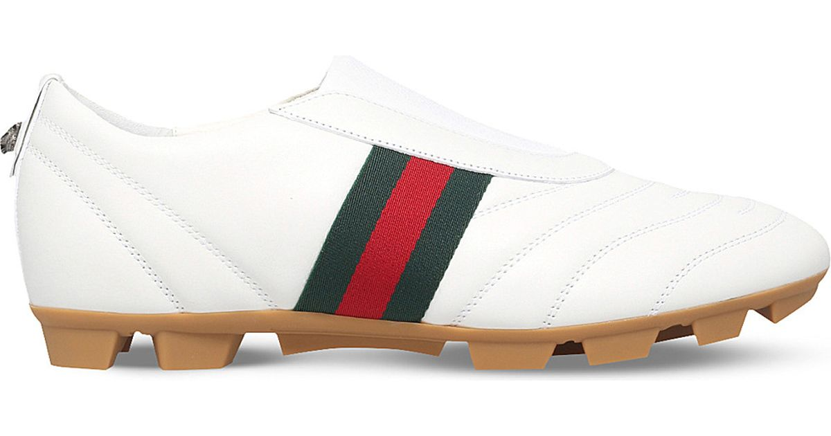 Lyst - Gucci Titan Leather Football Boots in White for Men 418278ee8