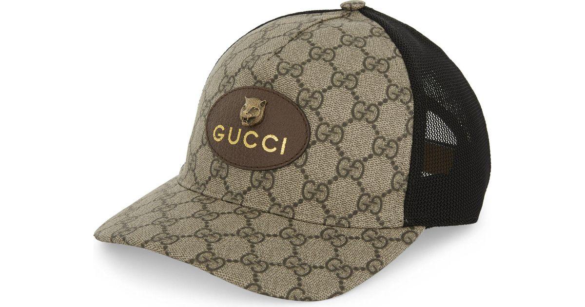 Gucci Tiger Gg Supreme Canvas Trucker Cap in Natural for Men - Lyst f6ceea20b69