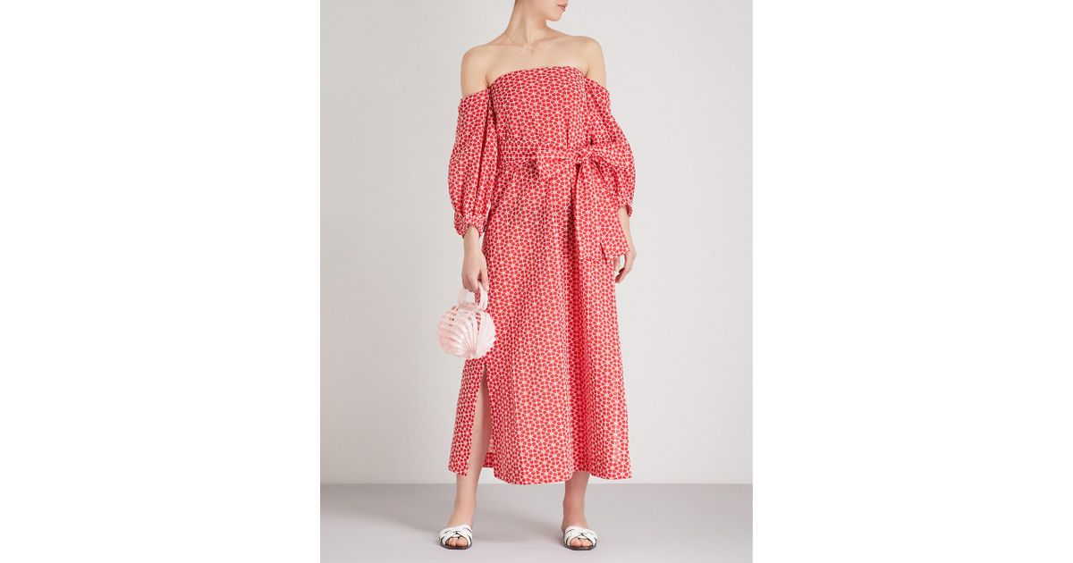 Rosie Off-the-shoulder Floral-print Linen Maxi Dress - Blue Lisa Marie Fernandez ao1KX6yv