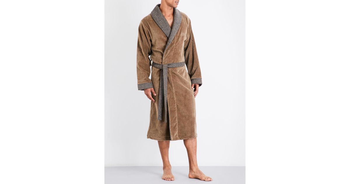 21d4a1dc15c64 BOSS Lord Kimono Cotton Dressing Gown in Brown for Men - Lyst