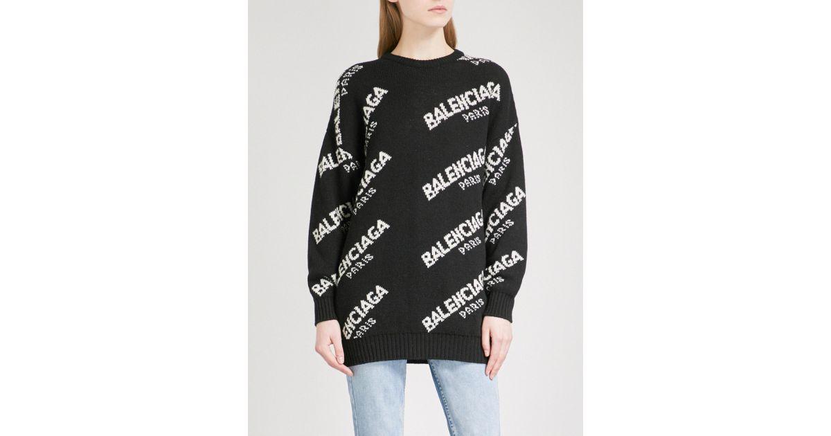 0664481d6116c Lyst - Balenciaga Boxy Logo Knitted Jumper in Black