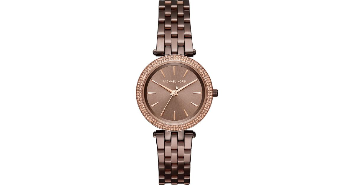 c87ff28a344c Lyst - Michael Kors Darci Pavé Sable Watch in Brown
