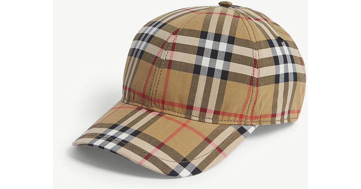 2e2eb8e2198e2 Burberry Checked Brushed-wool Baseball Cap in Brown for Men - Lyst