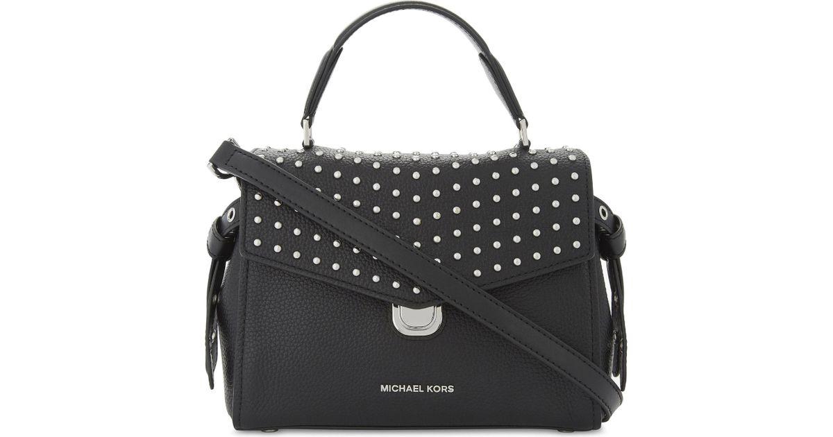 michael michael kors bristol studded leather satchel bag in black lyst rh lyst ca mk selma studded satchel michael kors bristol studded satchel