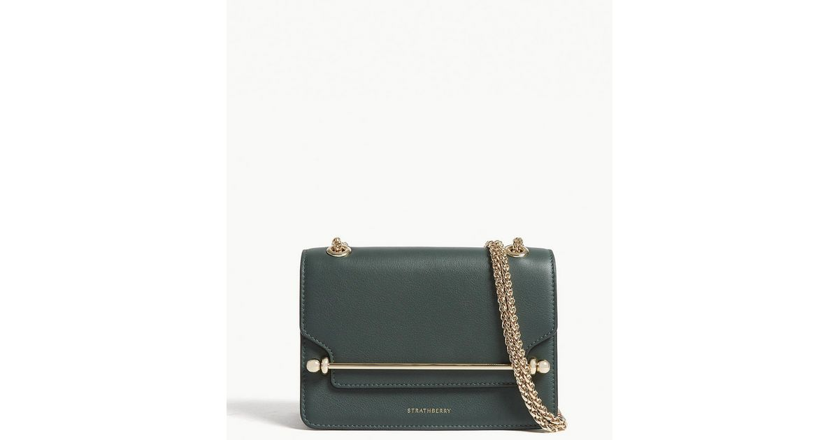 65501a152097 Strathberry East west Mini Leather Cross-body Bag in Green - Lyst