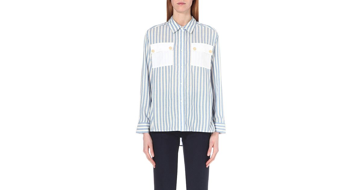 d490d88bed38a Lyst - Sandro Cintya Silk-blend Shirt in Green