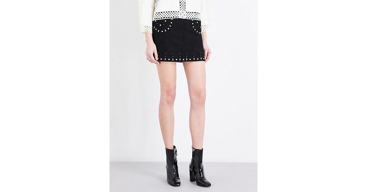 095f5c074 Lyst - Sandro Embellished Suede Skirt in Black