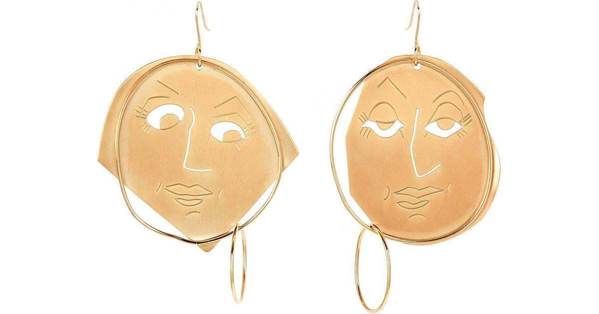 Gold Moonface Drop Earrings J.W.Anderson wEc7z