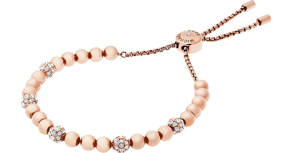 80344e05e460 Lyst - Michael Kors Wisteria Rose-gold And Crystal Bracelet in Metallic