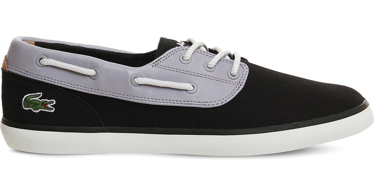 ee719cb63 Lyst - Lacoste Jouer Deck Suede And Canvas Boat Shoes in Gray for Men