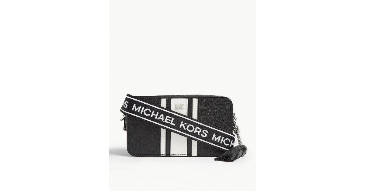9153daf659f9 MICHAEL Michael Kors Mercer Striped Leather Cross-body Bag in Black - Lyst