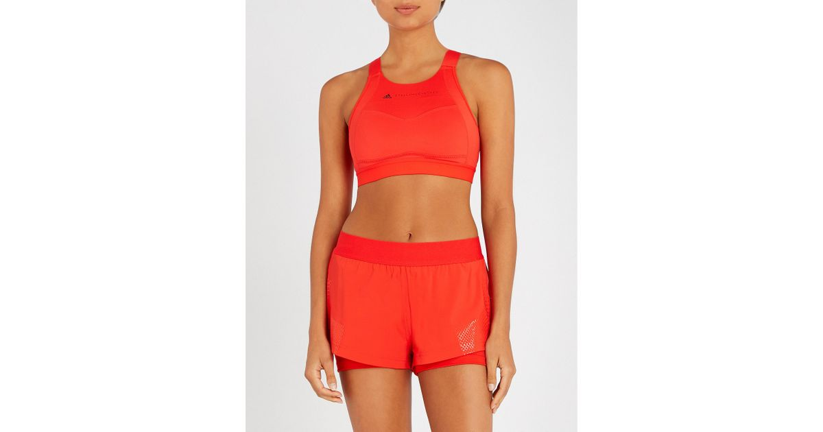 7e4986c567c88 adidas By Stella McCartney Performance Essentials Stretch-jersey Sports Bra  in Red - Lyst