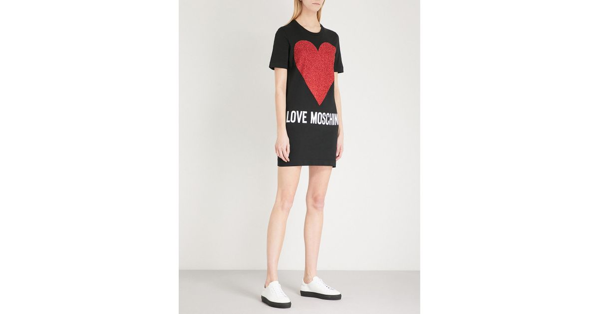 80ff090f20 Love Moschino Glitter Heart-print Cotton-jersey T-shirt Dress in Black -  Lyst