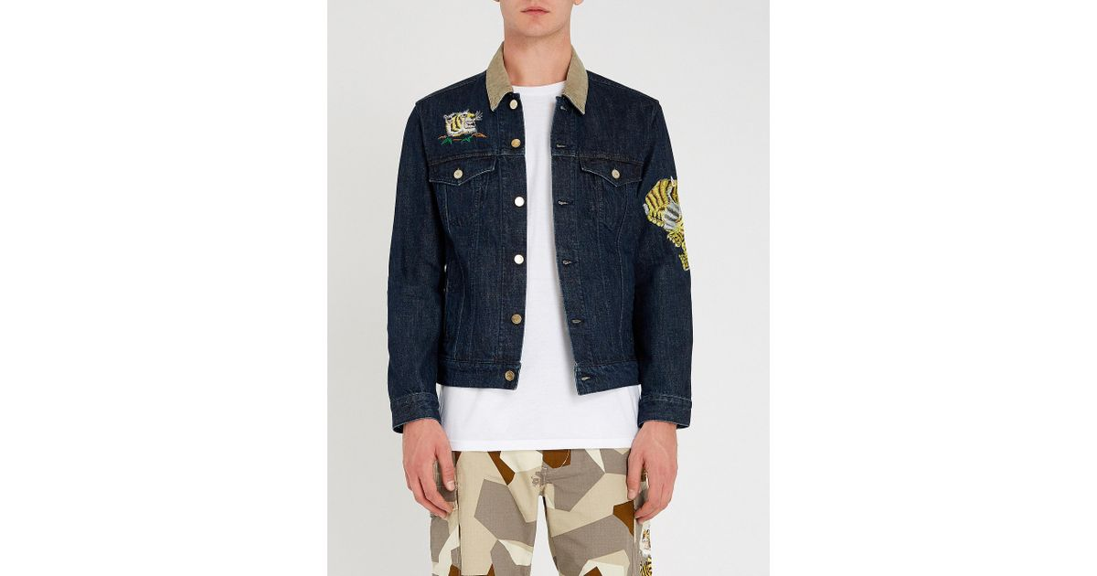 567c05e26125 Lyst - A Bathing Ape Tiger Embrodery Wide Denim Jacket Indigo in Blue for  Men