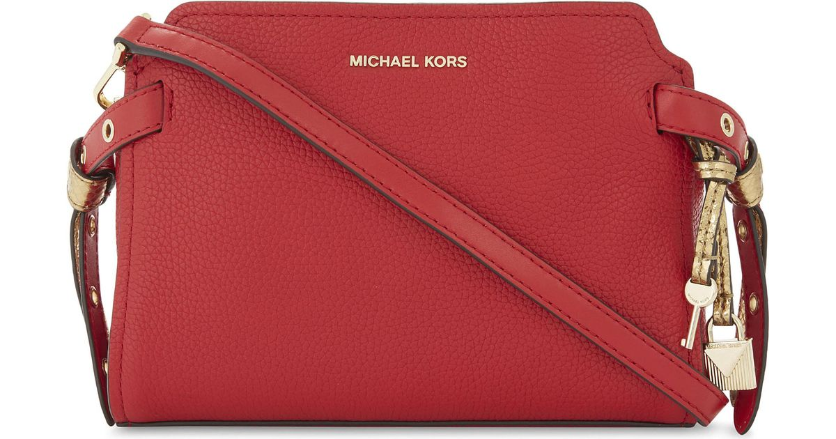 819b240fddb8cf MICHAEL Michael Kors Bristol Leather Messenger Bag in Red - Lyst