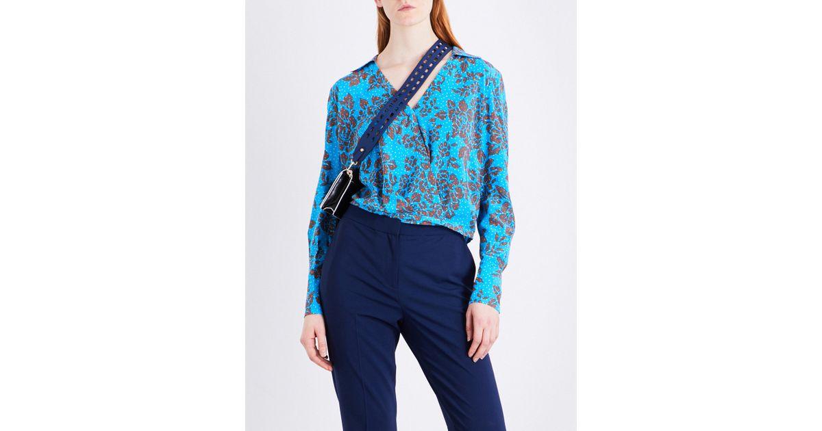 bb7bd52c56f372 Lyst - Diane von Furstenberg Crossover Silk Blouse in Blue
