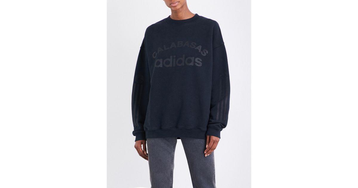 04b4b225e Lyst - Yeezy Season 5 Calabasas Adidas Cotton-jersey Sweatshirt in Blue