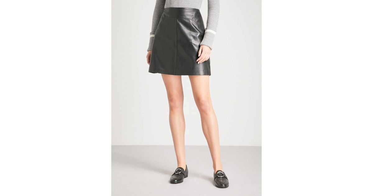 cbfab115ade Lyst - Whistles A-line Leather Mini Skirt in Black