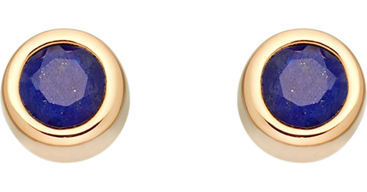 Lyst Astley Clarke Mini Stilla 18ct Yellow Gold Plated And Lapis Lazuli Stud Earrings In Metallic