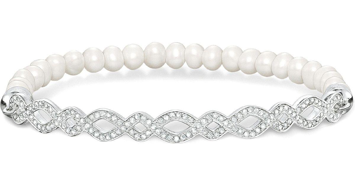 b5ed33d6e8df Lyst Thomas Sabo Love Bridge Infinity Silver And Pearl Bracelet In