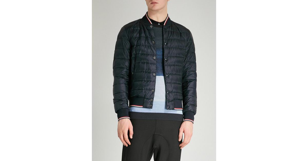 badf14617 Lyst - Moncler Striped-trims Quilted Down Jacket in Blue for Men