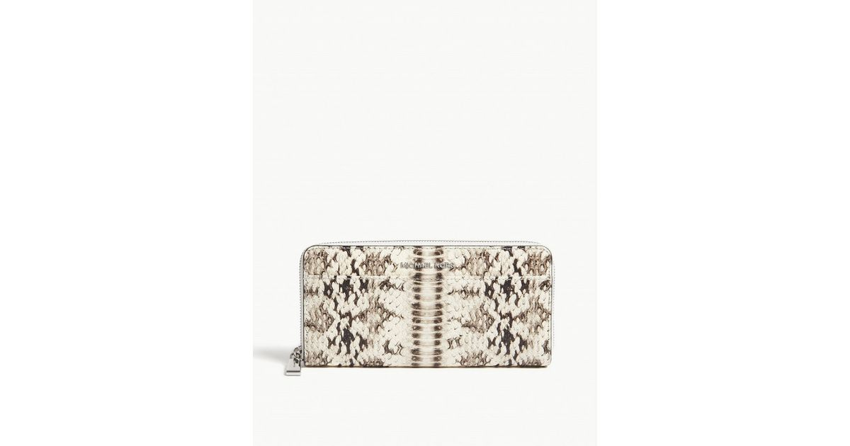 7f1944425ae8 Lyst - MICHAEL Michael Kors Money Pieces Snake-embossed Leather Continental  Wallet in Natural