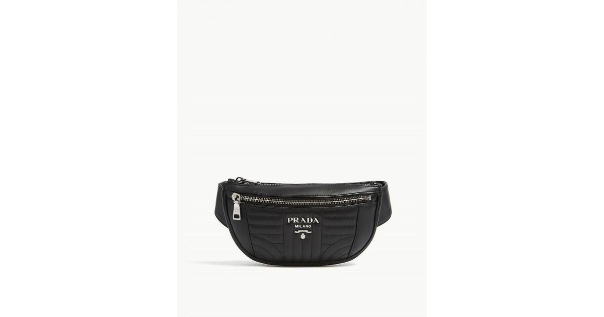 6b91b5c0ac55 ... buy lyst prada diagramme quilted leather bum bag in black for men fe944  cd8ae