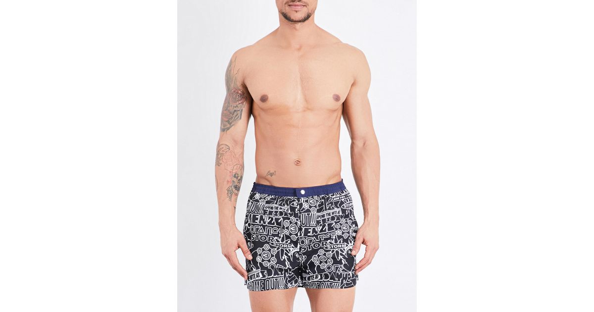 34ace924a1 Lyst - KENZO Graphic-print Swim Shorts in Black for Men