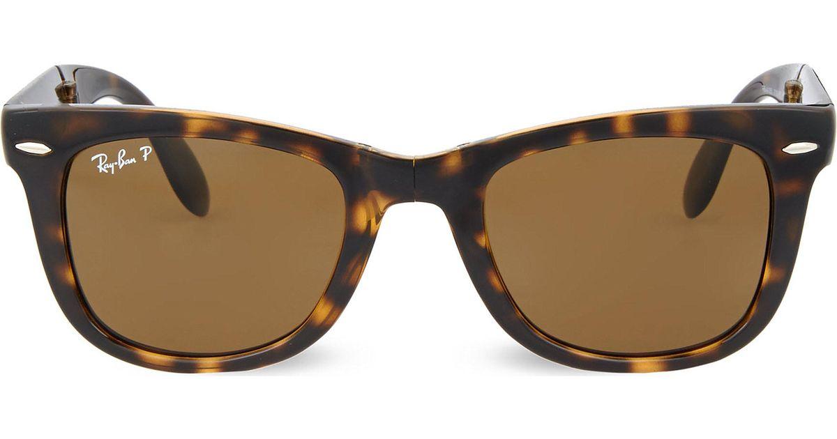 136267f976 Ray-Ban Light Havana Folding Tortoiseshell Wayfarer Sunglasses With Brown  Polarised Lenses Rb4105 50 in Brown - Lyst