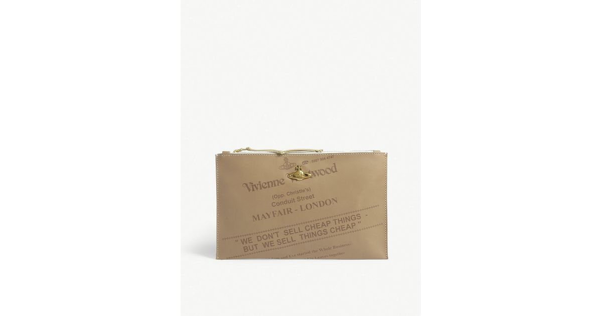 03ce75d2a13 Vivienne Westwood Anglomania Bessie Leather Pouch in Natural - Lyst