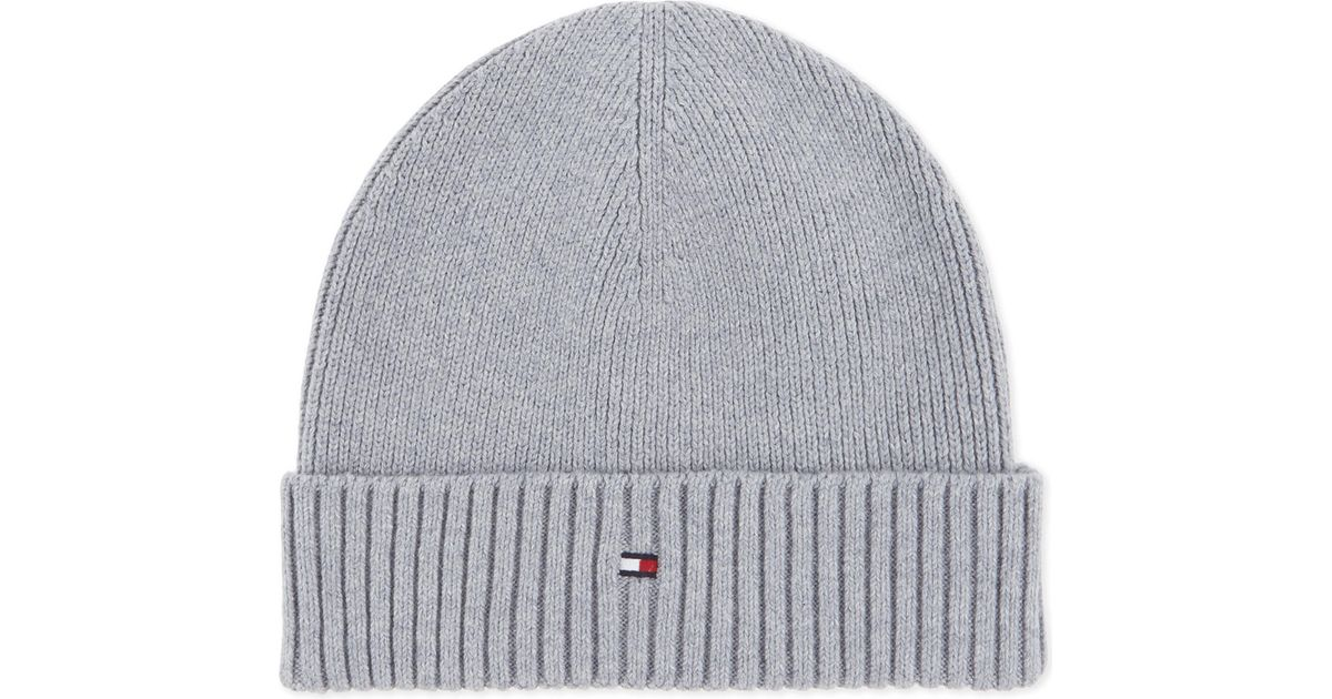 b16c375c Tommy Hilfiger Knitted Cotton-cashmere Beanie in Gray for Men - Lyst