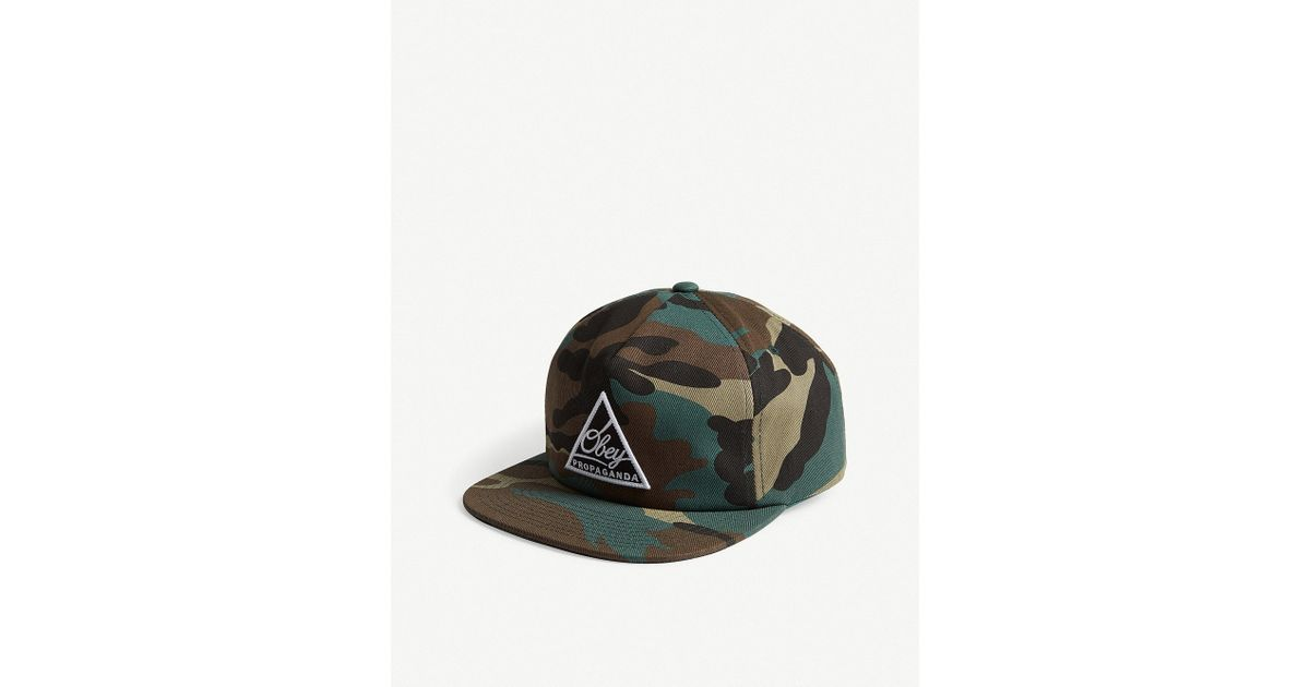 44c2f781d51 Lyst - Obey Logo Camouflage Snapback Cap in Green for Men