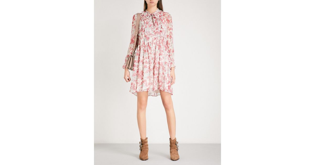 3af376d2884695 The Kooples Lily Of The Valley-print Pleated Silk-georgette Mini Dress in  Pink - Lyst