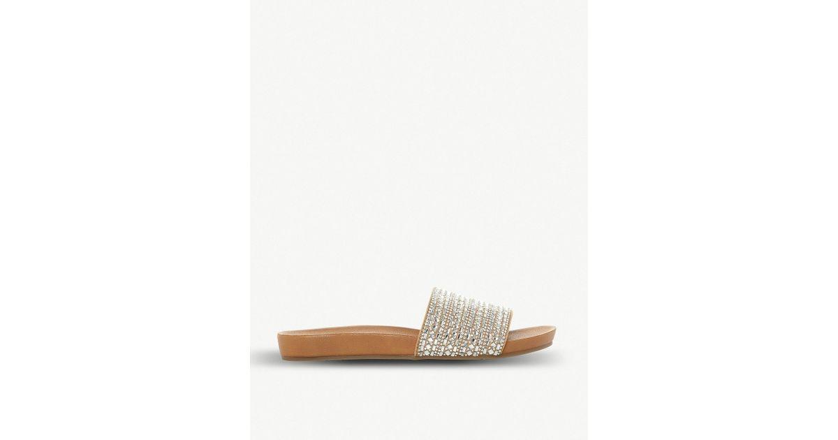 b66be4c9642d4 Steve Madden Fancy Rhinestone-embellished Flat Sandal in Natural - Lyst