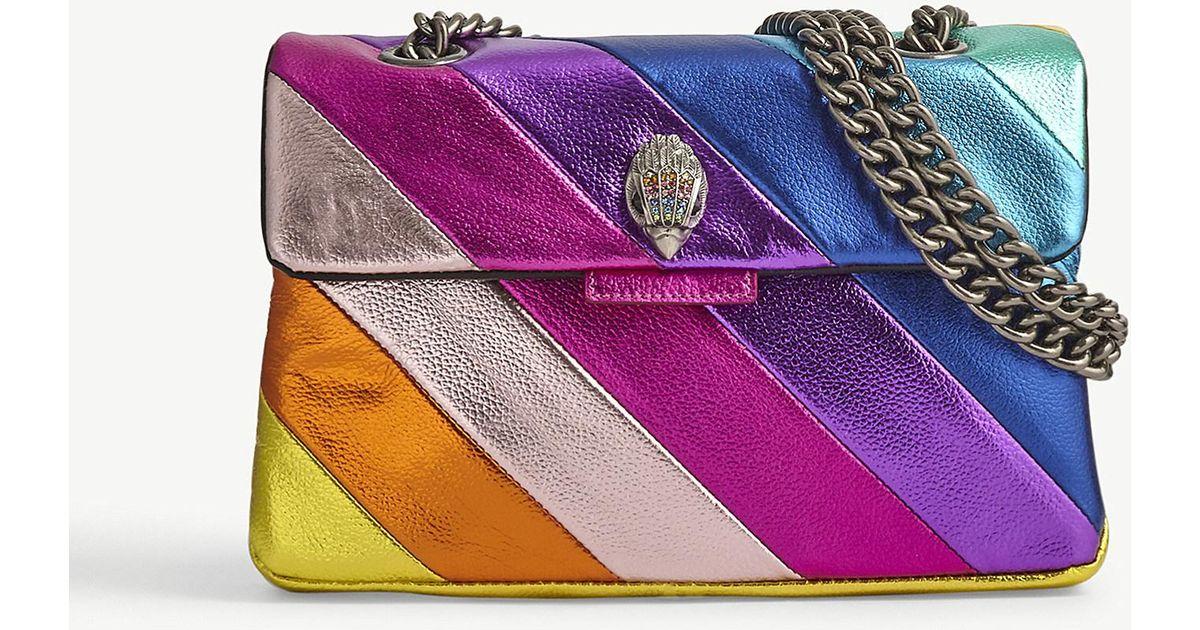 65a70bce3c Lyst - Kurt Geiger Kensington Multi-coloured Leather Shoulder Bag in Purple
