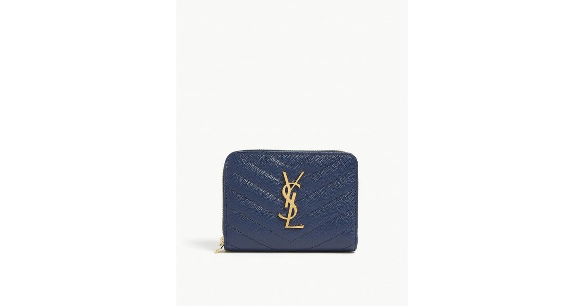 b90d00201301 Lyst - Saint Laurent Denim Brut Quilted Monogram Leather Purse in Blue