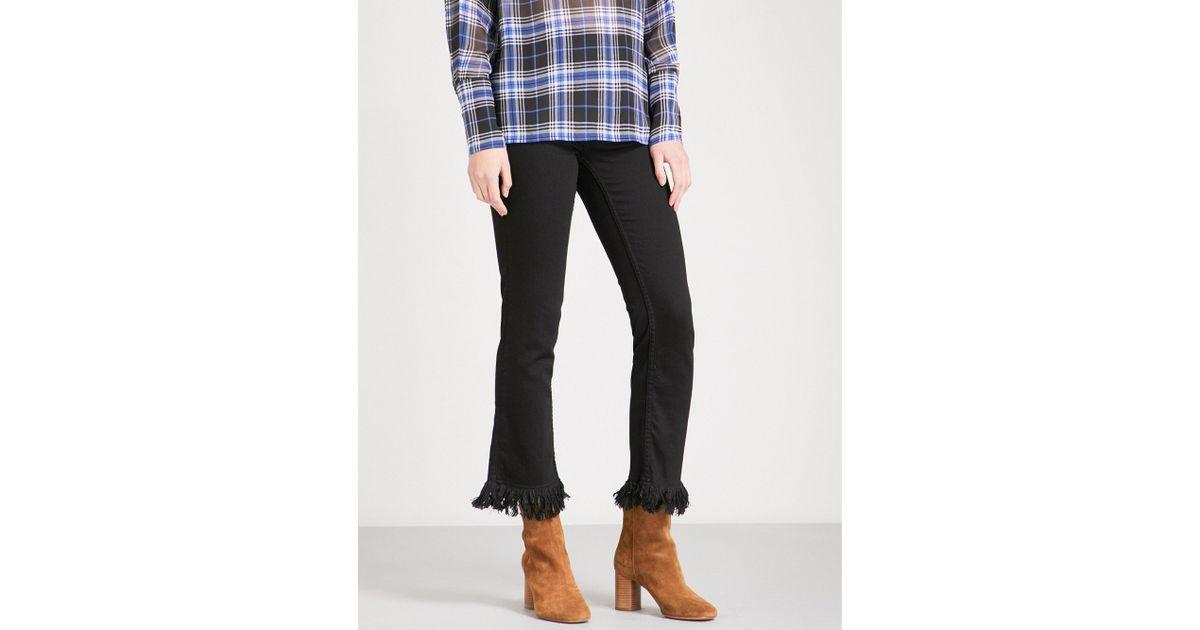 aa7e818ea33 Lyst - Maje Panako Frayed-hem Skinny High-rise Jeans in Black