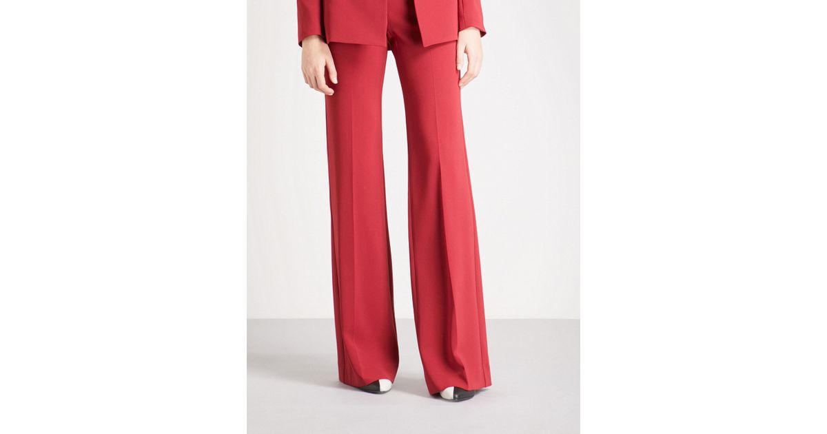 409ad633b0eefa Theory Demitria Admiral Slim-fit Flared Crepe Trousers in Red - Lyst
