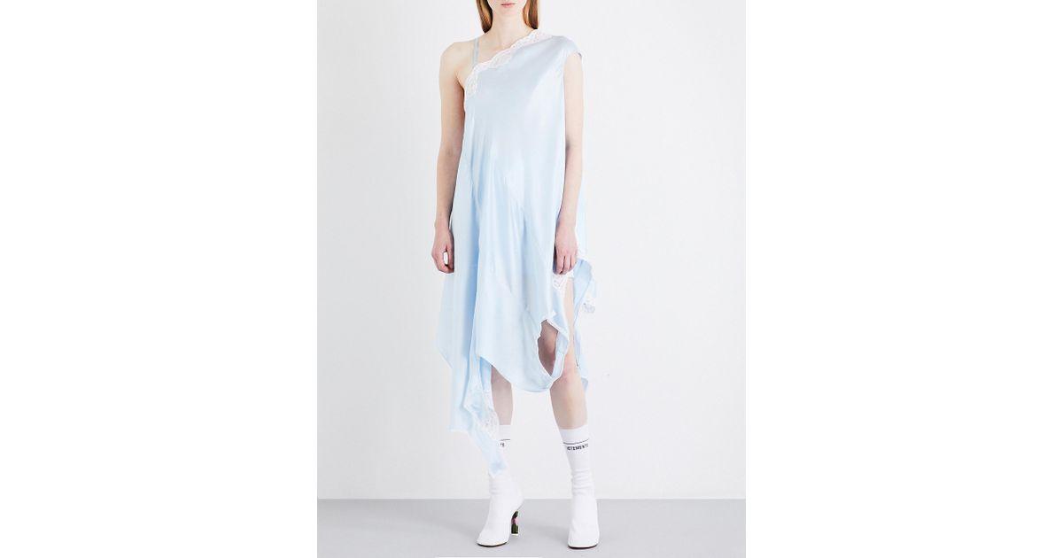 Lyst - Vetements Granny Silk-satin Slip Dress in Blue