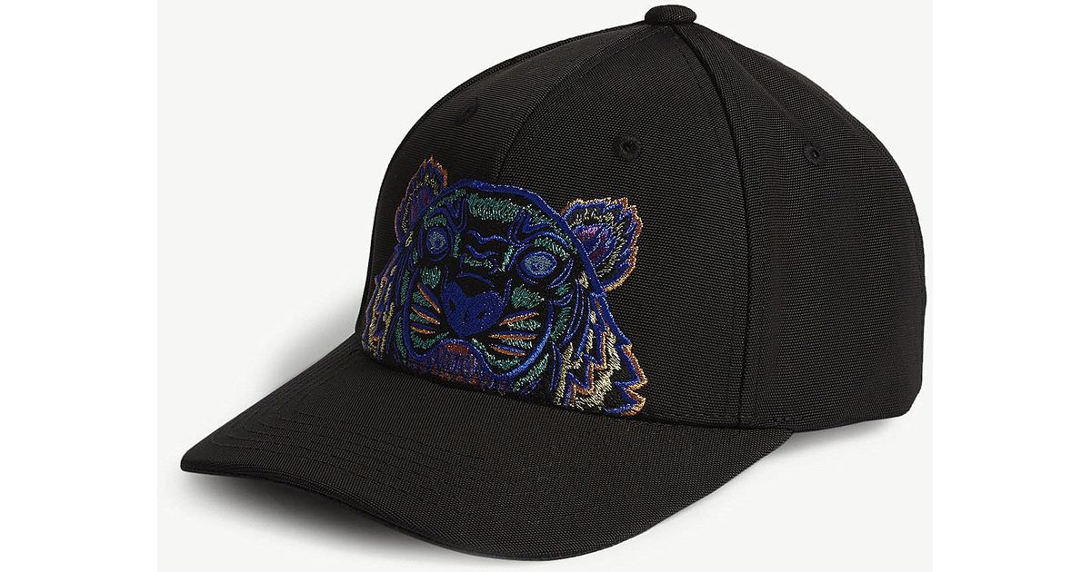 Lyst - KENZO Tiger Canvas Cap in Black for Men 972fed6e7c49