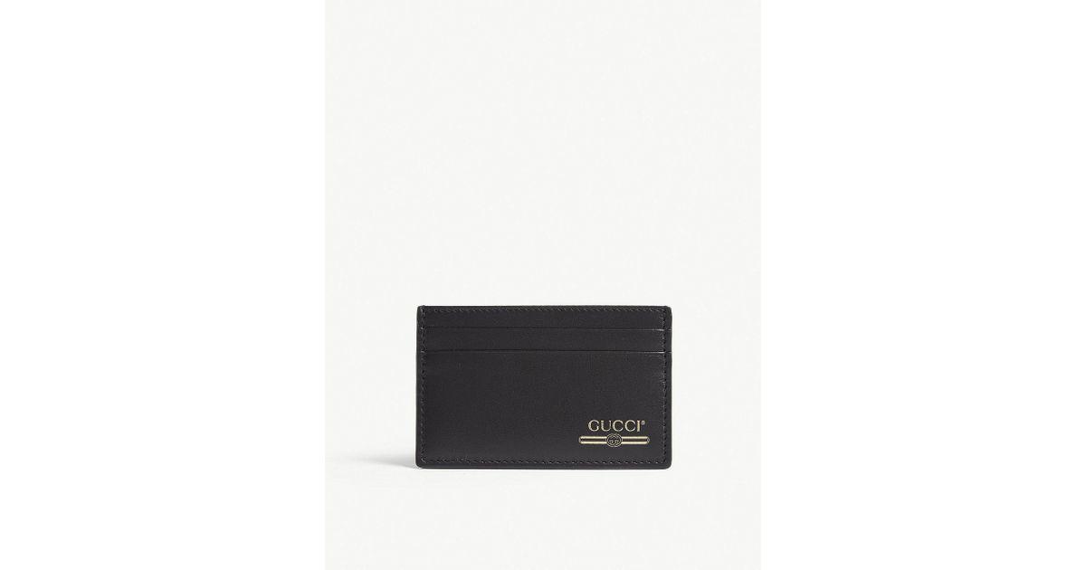 96184400ee9 Gucci Gold Print Logo Leather Cardholder in Black for Men - Lyst