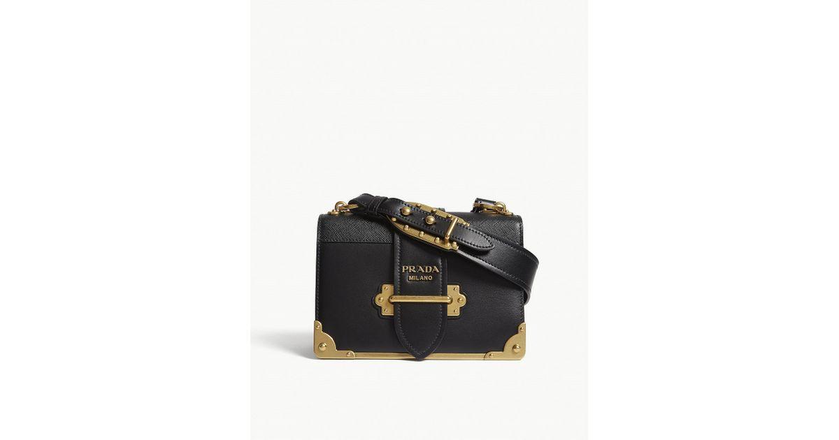 b3e1a9c591ec35 Prada Cahier Leather Shoulder Bag in Black - Lyst