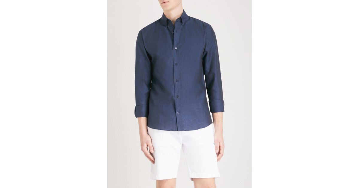 6801d3c282df Tiger Of Sweden Donald Slim-fit Cotton And Linen-blend Shirt in Blue for  Men - Lyst